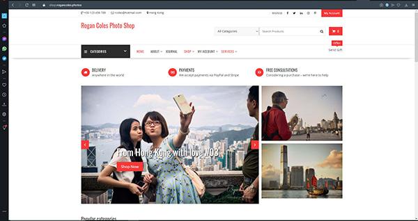 The Rogan Coles Photo Shop website front page