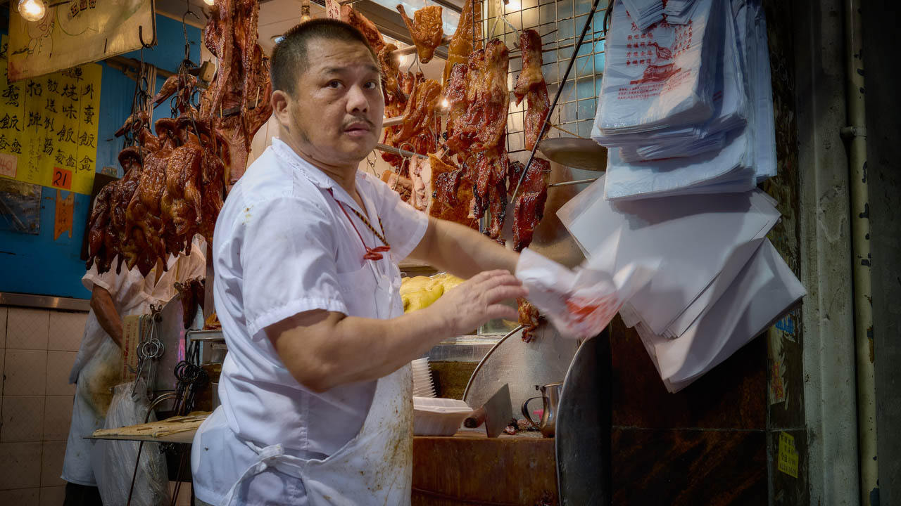 Cooked foods stall on Shanghai Street, Hong Kong