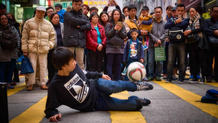 Performance on Sai Yeung Choi Street in Mongkok, Hong Kong