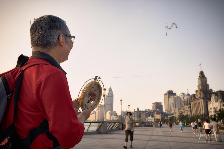 Flying kites on The Bund in Shanghai.